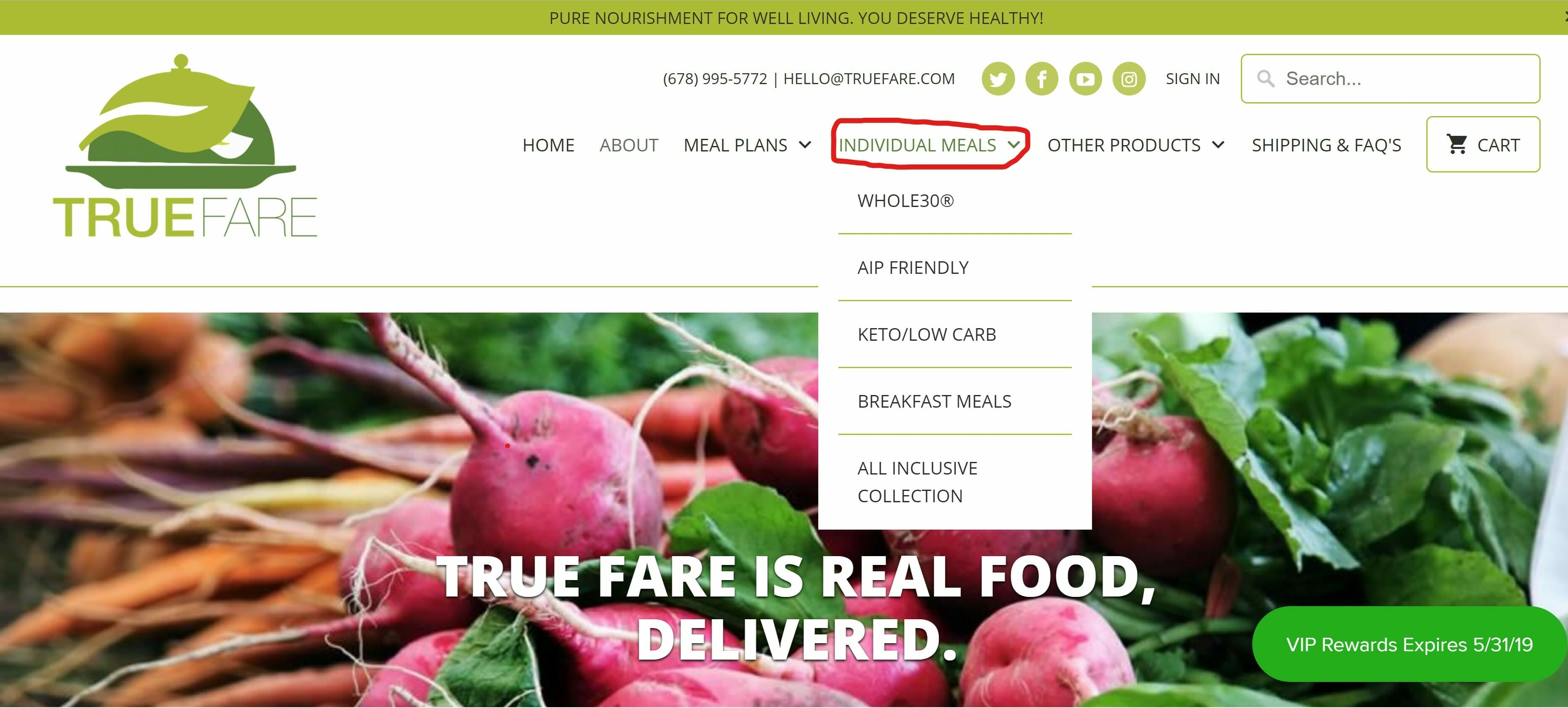 True Fare offers individual meals