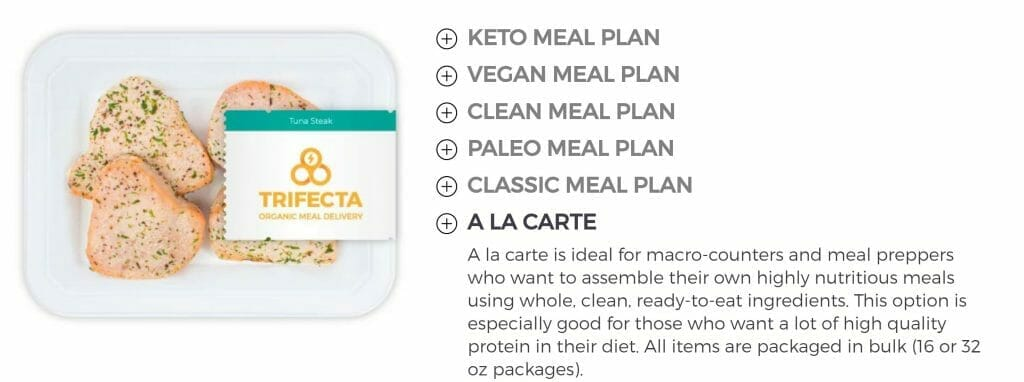 a la carte meals from Trifecta